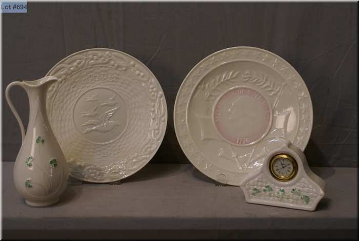 Image 1  Four pieces of Irish Belleek including two green mark plates a brown & Four pieces of Irish Belleek including two green mark plates a ...
