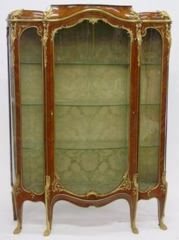 Linke Louis XV style tulipwood & kingwood vitrine