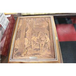 WOOD CARVED HORSE PICTURE