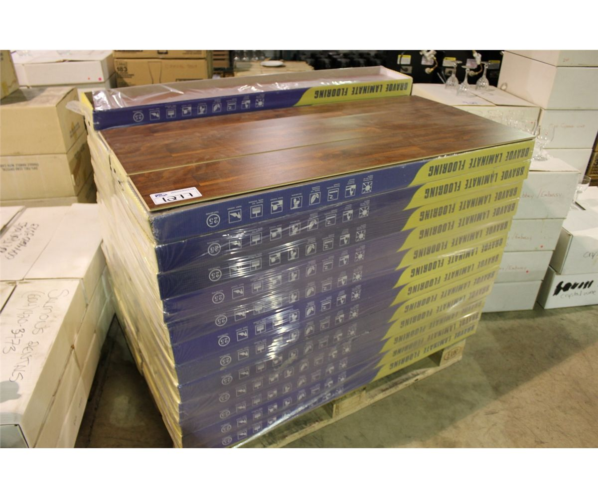 Image 1 Pallet Of Bravoe Brown Teak Laminate Flooring