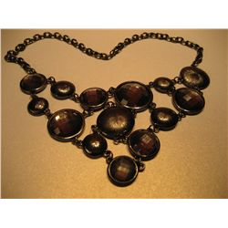 COSTUME JEWELRY, JEWELED PEARL BLACK FACETED RINESTONES