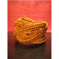COSTUME JEWELRY, ARTISAN CUFF YELLOW BEADED CUFF BRACELET
