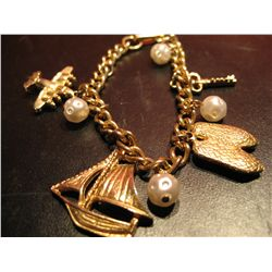 COSTUME JEWELRY FASHION BRACELETS PEARL BEADS, CHARMS BOAT, AIRPLANE, BALLERINA & KEY