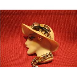 COSTUME JEWELRY FASHION LADY BUST HEAD WTH RHINESTONES HANDMADE