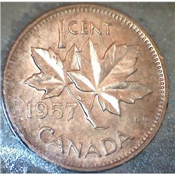 Canada - 1 Cent - 1957 - Red - ICCS - MS-64
