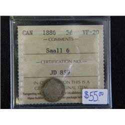 Canada - 5 Cents - 1886 - Small 6 - ICCS - VF-20