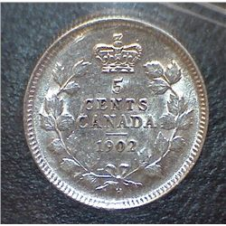 Canada - 5 Cents - 1902H - Small H - ICCS - AU-50