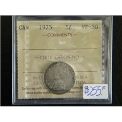 Canada - 5 Cents - 1925 - ICCS - VF-30