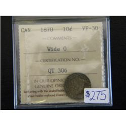 Canada - 10 Cents - 1870 - Wide O - ICCS - VF-30