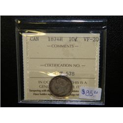 Canada - 10 Cents - 1874H - ICCS - VF-20