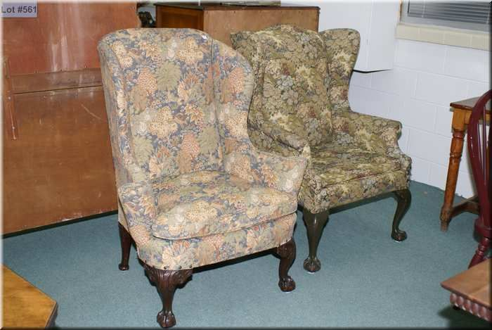 Image 1 : Two Antique Wingback Chairs Each With Carved Ball And Claw Feet