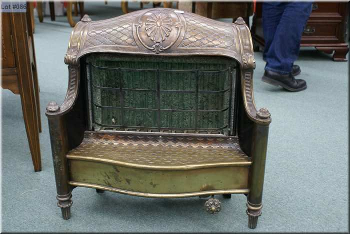 Vintage brass gas fireplace insert made by Humphrey Radiant Fire