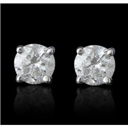 14KT White Gold 1.12ctw Diamond Solitaire Earrings A5565