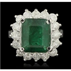 14KT White Gold 4.63ct Emerald and Diamond Ring A6248
