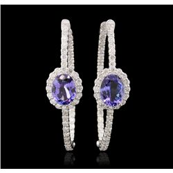 14KT White Gold 3.86ctw Tanzanite and Diamond Earrings A7026