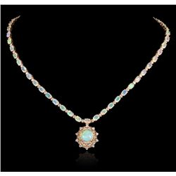 14KT Yellow Gold 15.72ctw Opal and Diamond Necklace A5448