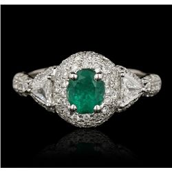 18KT White Gold 0.56ct Emerald and Diamond Ring FJM3009