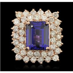 14KT Rose Gold 8.45ct GIA Cert Tanzanite and Diamond Ring A6411