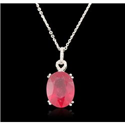 14KT White Gold 13.72ct Ruby and Diamond Pendant and Chain A6708