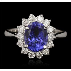 14KT White Gold 2.58ct Tanzanite and Diamond Ring A6654