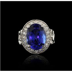 14KT White Gold 9.83ct Tanzanite and Diamond Ring A4081