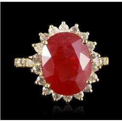 14KT Yellow Gold 7.38ct Ruby and Diamond Ring RM1249