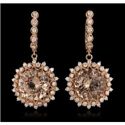 14KT Rose Gold 14.56ctw Morganite and Diamond Earrings A6197