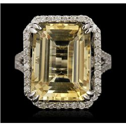 14KT White Gold 11.50ct Citrine and Diamond Ring A6732