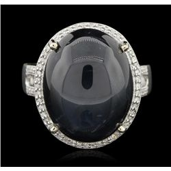 14KT White Gold 30.13ct Star Sapphire and Diamond Ring RM1457