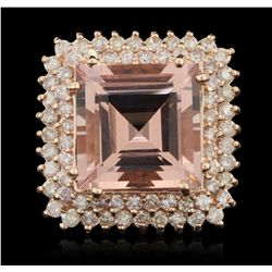 14KT Rose Gold 12.15ct Morganite and Diamond Ring A6156