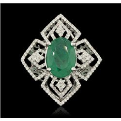 14KT White Gold 5.71ct Emerald and Diamond Ring PRM63