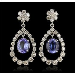 14KT White Gold 7.22ct Tanzanite and Diamond Earrings A6822