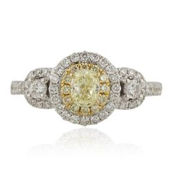 14KT Two Tone Gold 0.40ct Fancy Yellow Diamond Ring CRJ67