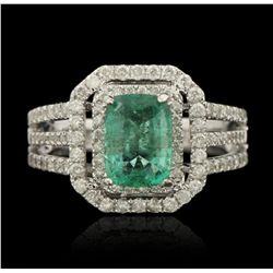 14KT White Gold 1.61ct Emerald and Diamond Ring A5322