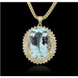 14KT Yellow Gold 46.15ct GIA Certified Aquamarine & Diamond Pendant With Chain A5902