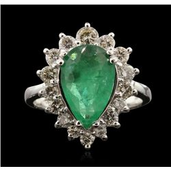 14KT White Gold 2.02ct Emerald and Diamond Ring A7053