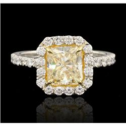 Platinum 2.07ct VS2/Fancy Yellow EGL USA Certified Diamond Ring HK15