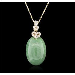 14KT Gold 41.05ct Jadeite and Diamond Pendant with Chain RM1530