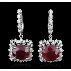 14KT White Gold 16.86ctw Ruby and Diamond Earrings A5733