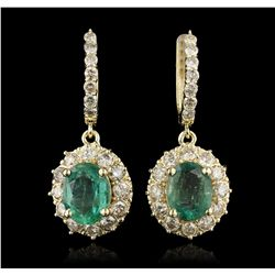 14KT Yellow Gold 5.03ct Emerald and Diamond Earrings A7069