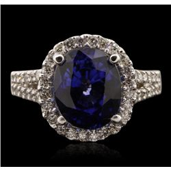 14KT White Gold 6.64ct Sapphire and Diamond Ring A7034
