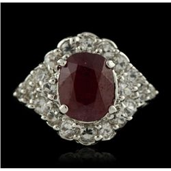 SILVER 3.70ct Mixed Ruby and White Topaz Ring SLV332