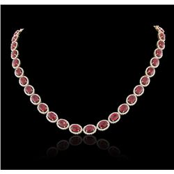 14KT Yellow Gold 49.56ctw Ruby and Diamond Necklace RM1350