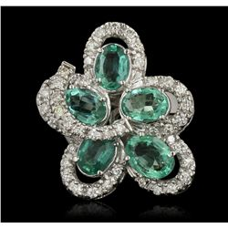 14KT White Gold 3.10ctw Emerald and Diamond Ring A6319