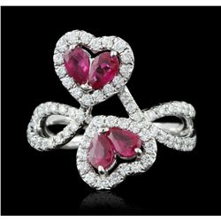 18KT White Gold 1.15ct Ruby and Diamond Ring FJM3026