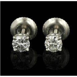 14KT White Gold 0.48ctw Diamond Solitaire Earrings A5056