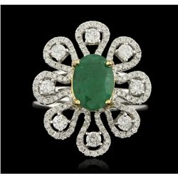 14KT White Gold 1.89ct Emerald and Diamond Ring A6129
