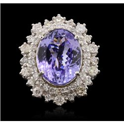 14KT White Gold 8.30ct Tanzanite and Diamond Ring A6786