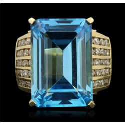 14KT Yellow Gold 20.34ct Blue Topaz and Diamond Ring GB2169