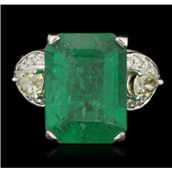 18KT White Gold 9.40ct Colombian Emerald and Diamond Ring DJ77